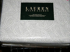 Ralph Lauren Gray & White Paisley QUEEN Sheet Set--NWT