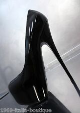 1969 Schwarz All Leather Made in Italy Plateau High Sexy Heels CD3 Leder Pumps