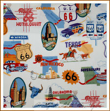 BonEful Fabric FQ Cotton Quilt VTG Travel Route 66 Antique Classic Car Road USA