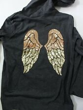 Victoria's Secret PINK Bling Angel Wings Full Zip Hoodie Jacket Gray Size XS NWT