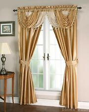 Gold Beige Satin Waterfall Window Curtain Panels Tie Back Set LinenPlus