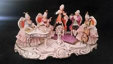 "VINTAGE DRESDEN ART GROUP PLAYING MUSIC 12"" X 6.75"" MUS MUSICIANS FIGURINE"