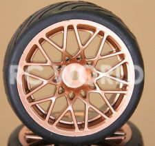 RC 1/10 CAR TIRES WHEELS RIMS PACKAGE SEMI- SLICKS KYOSHO TAMIYA HPI GOLD