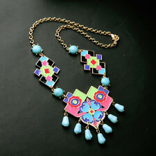 Colorful Code Enamel Turquoise Geometric Kite Shaped Frontal Necklace Art Deco