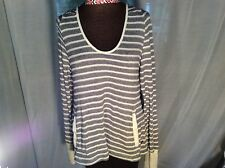 NWT Roxie women junior large blue/white striped lightweight hoodie shirt/top