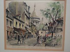 Franz Herbelot Signed Watercolor Painting Paris La Place du Tertre Montmartre
