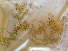 Vintage JC Penny Fashion Manor Double flat sheet yellow shabby floral