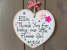 Personalised Thank You Flower Girl Bridesmaid Wedding Gift Sign Plaque Heart ��