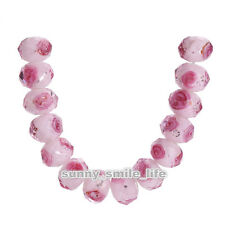 10pcs Pink Faceted Glass Rose Flower Inside Lampwork Spacer Beads 12mm