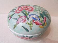 grande boite bonbonniere porcelaine asiatique chine ou japon fleurs papillon