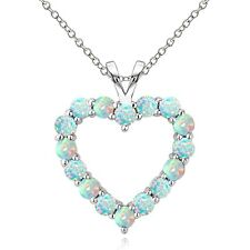 925 Sterling Silver 1.25 Ct Created Opal Open Heart Necklace