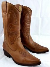 Women's Steve Madden Tan leather Western Style pointy toe Cowboy Boots Size 6