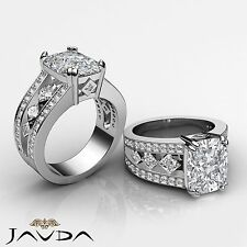 Radiant Cushion Diamond Bezel Engagement Ring GIA G VS2 14k White Gold 2.25 ct