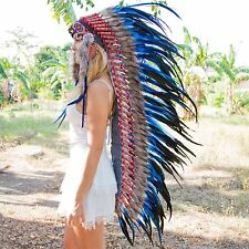 AMAZING CHIEF INDIAN HEADDRESS 130CM FEATHERS Native American Costume WAR BONNET