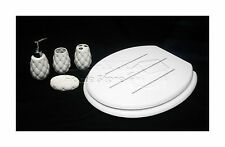 4pc elegante accessorio da bagno ceramica porcellana & Tavoletta per WC Set Diamante Bianco