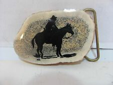 "WOODEN COWBOY ON HORSE SHADOW SIGNED 1984 ""THE TRAIL BOSS"" BELT BUCKLE"