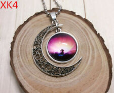 psychedelic Galaxy Glass Hollow Moon Pendant Silver Necklace