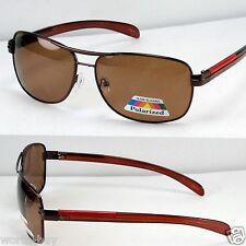 New Brown Aviator Mens Polarized Lens Sunglasses Sports Fishing Driving Shades