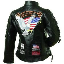 Motorcycle Womens Jacket Leather Live to Ride Buffalo Leather New Black w Lacing