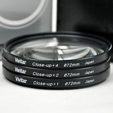 New Vivitar 72mm Close-up lens Kit +1 +2 +4  with Carry Case