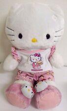 Build A Bear Sanrio Plush Hello Kitty White Stuffed Animal with PJ's EUC