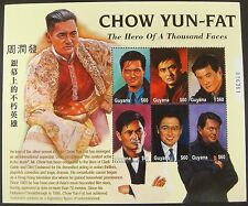 CHOW YUN-FAT STAMPS SHEET OF 6 FROM GUYANA #3570 ISSUED IN 2001 ACTOR