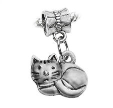 Cat Kitten Pet Animal Dangle Bead fits Silver European Style Charm Bracelets