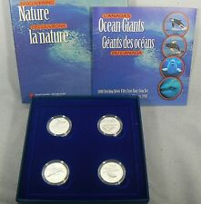1998 Canada 50 Cents Proof Silver Ocean Giants 4 coin set w/COA, Case & Sleeve