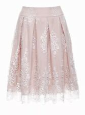 Review Sz 12 BNWT Forget Me Not Skirt Pleated Sheer Cream Lace Nude Satin Lining