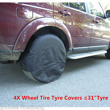 "Universal 4 Pcs Wheel Tire Tyre Covers Raincoves Diameter for ≤31"" Tyre Black"