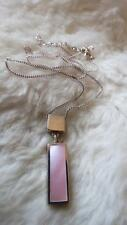 "925 Sterling Silver Pink Mother Of Pearl Bar Droplet Pendant 18"" Chain Necklace"