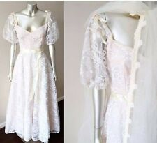Sweetheart Wedding Veil Vintage 70s Lace Full Circle White Blush Dress Sz S