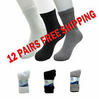 12 Pairs Men's Diabetic Crew Socks size 9-11 or 10-13 Buruka White Grey or Black