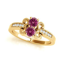 1.097 Cts Pink  VS2-SI1 2 Stone Diamond Solitaire Engagement Ring 14k YellowGold