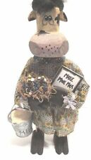 """Mama Cow 14"""" High Decorative Wooden Figure with Pail """"Make More Milk"""" Hand Made"""