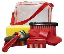 Showman 6pc RED Horse Grooming Kit w/ Plastic Carrying Bag! NEW HORSE TACK!