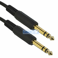 "5 METRE GOLD 6.35mm STEREO Male Plug Jack Cable 1/4"" Guitar Mixer Audio Lead 5m"