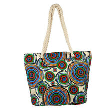 Lux Accessories Womens Extra Large Zip Up Beach Tote Bag Multicolor Circles