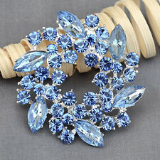 Crystal Rhinestone Brooch Christmas Wreath Flower Pin Necklace Pendant Xmas Gift