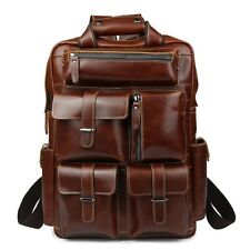 New Men's Real Leather Large Backpack Laptop Bag Hiking Travel Camping Carry On
