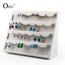 Oirlv Earrings Exhibitor Holder Shelf Stand Beige Linen Jewelry Display Stand