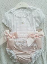 Spanish baby girls bow fronted Jam pants set. NEW. 12 months 18 months