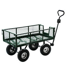 Heavy Duty Wheelbarrow Steel Wagon Utility Garden Cart Yard Lawn Dump Flat Dolly