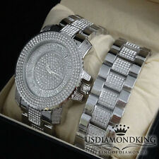 NEW WHITE GOLD FINISH ICED OUT WATCH BRACELET SET LAB DIAMOND CAPTAIN BLING