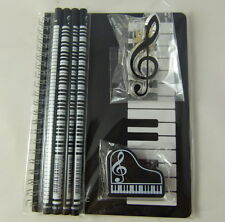 Music Themed Stationery Notebook Set - Black Keyboards Spiral Bound Notebook, Pi