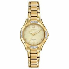 Citizen Eco-Drive Women's EM0452-58P Diamond-Set Bezel Yellow Gold Dress Watch
