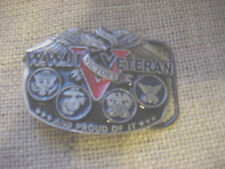WWII VETERAN AND PROUD OF IT BELT BUCKLE VICTORY EUC GREAT AMERICAN COMPANY 1988