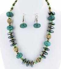 TURQUOISE AND GREEN LUCITE BEAD CERAMIC CHIPS GOLD TONE BEAD NECKLACE EARRING