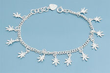 """Bracelet with Weed Charms Sterling Silver 925 Jewelry Gift 7""""adjust to 8"""""""