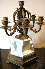 ANTIQUE FIGURAL FRENCH BRONZE & BISQUE 6 ARMS CANDELABRA CENTER PIECE LION MOTIF